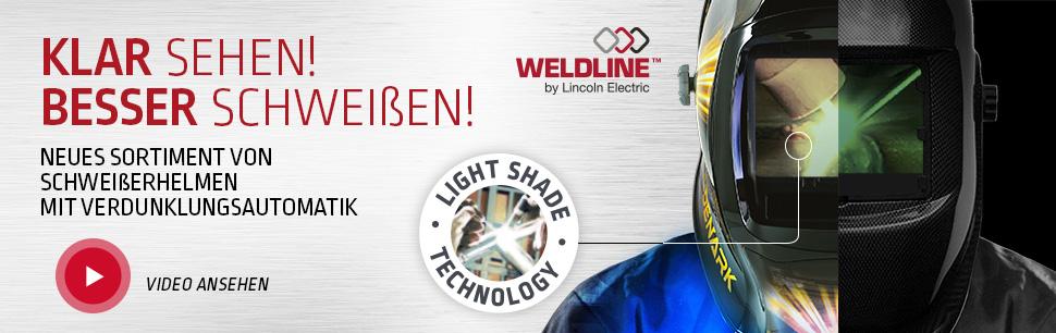 Neues Sortiment von Schweißerhelmen mit Verdunklungsautomatik Light Shade Technology