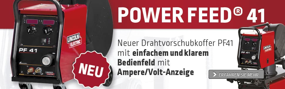 Neuer Drahtvorschubkoffer PF41 mit einfachem und klarem Bedienfeld mit Ampere/Volt-Anzeige