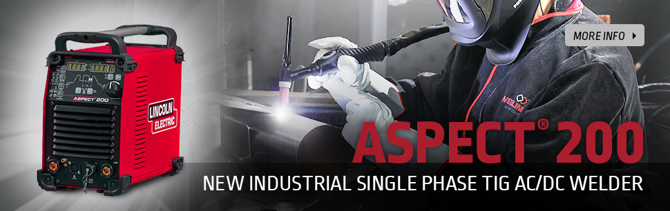Aspect 200: New industrial single phase AC/DC TIG welder