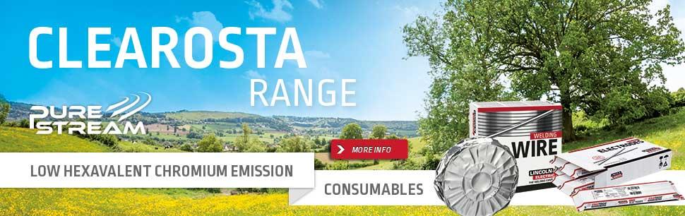 Clearosta range: Low Hexavalent Chromium Emission Consumables