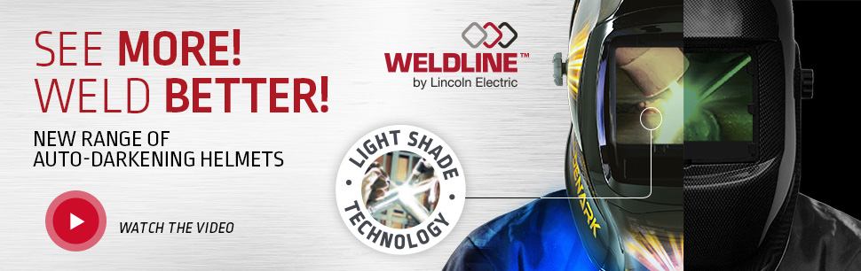 Auto-darkening helmets from Weldline by Lincoln Electric with Light Shade Technology for natural vision