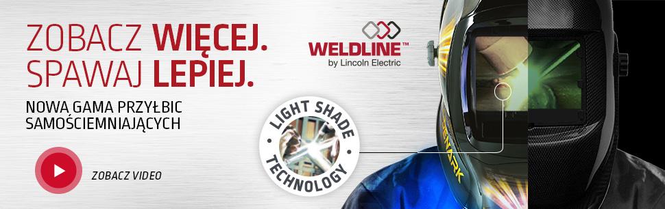 Samościemniające przyłbice Weldline by Lincoln Electric z Technologią Light Shade oferująca naturalny widok