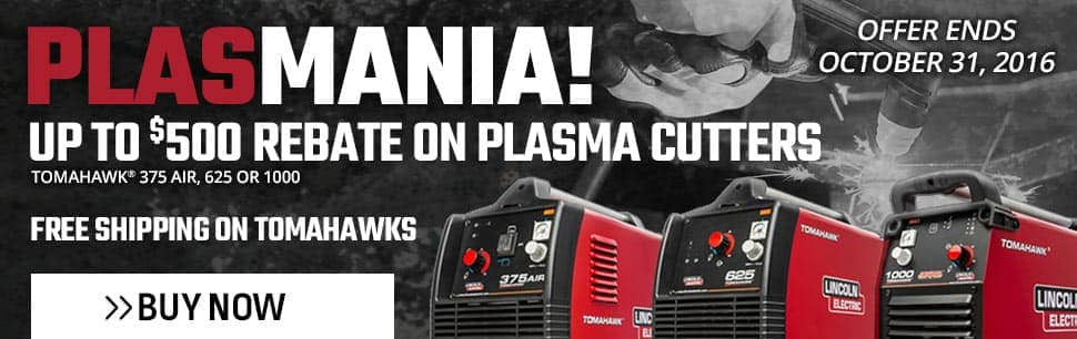 Up TO $500 Rebate On Plasma Cutters