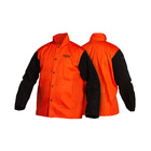 Traditional Split Leather Sleeved Jacket - Orange