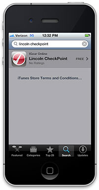Lincoln CheckPoint Iphone App