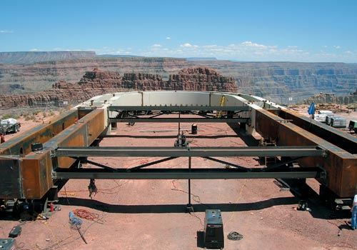 4,000 feet above the Colorado River, a horseshoe-shaped walkway extends 65 feet from the cliff edge of the Grand Canyon.
