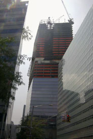 Recent shot from late August, 2004 shows the outer glass façade being added to the structure.