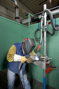 Each of the booths can accommodate various types of welding processes, including MIG, TIG, Flux-Cored and Stick.