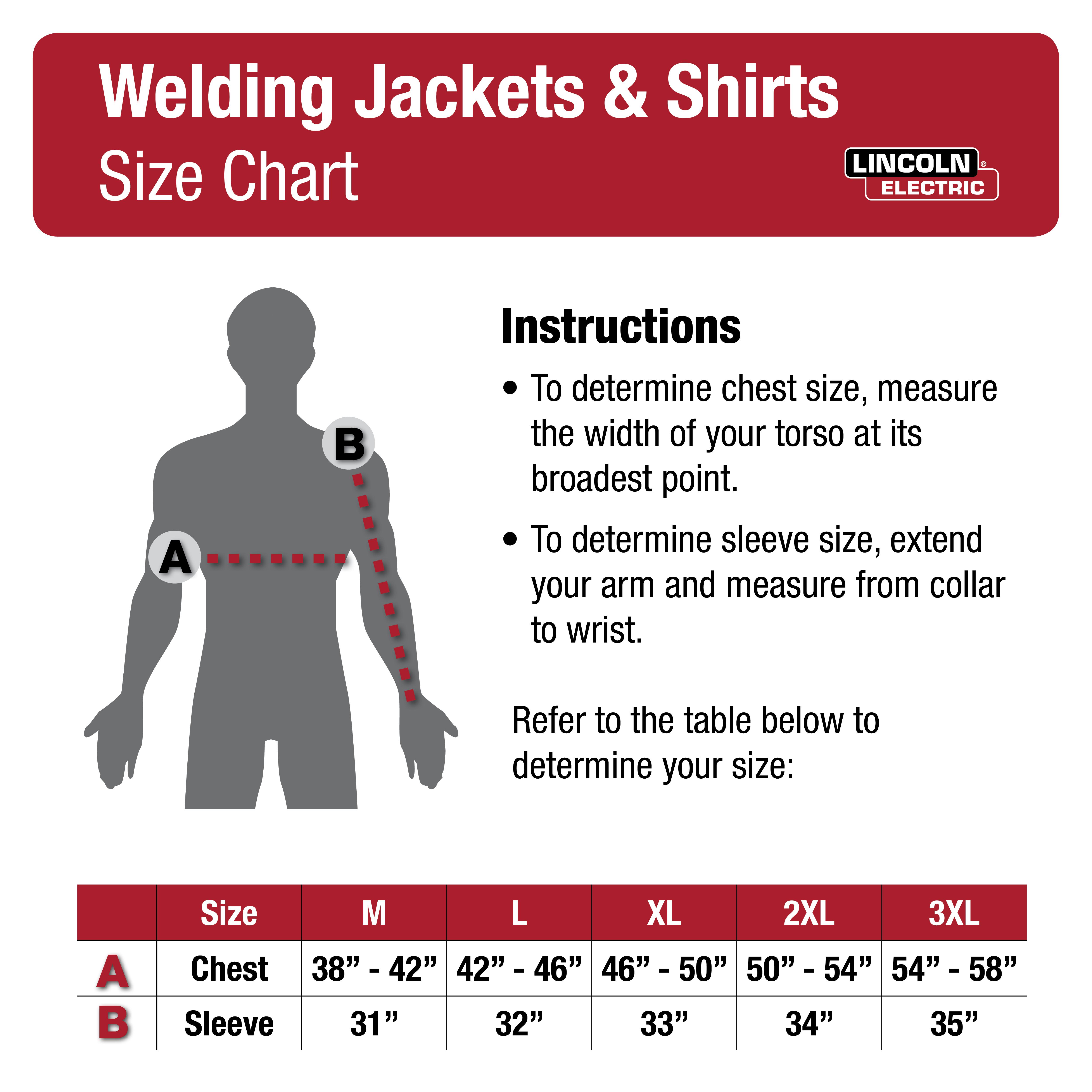 Welding Jackets & Shirts Size Chart