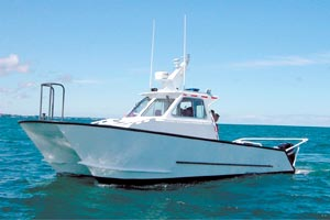 Mission Marine fabricates aluminum catamarans used for general patrol, drug enforcement, search and rescue.