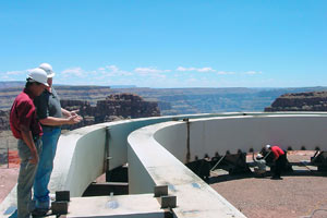 To secure the new Grand Canyon Skywalk, engineers cantilevered it to the cliff using 94 46-foot steel rods.